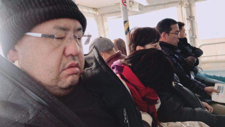 芳賀現会長の寝顔…ブルドッグみたいやね。