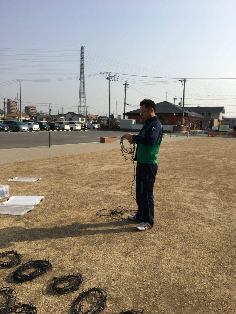 藤村委員長も作業をこなします。 イルミネーションの束が、地面にまる模様を付けていきます。